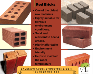 Red Bricks used in building construction in Kerala