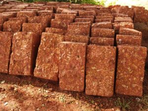 Laterite blocks used in building construction in Kerala