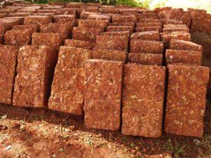 Laterite blocks used in building construction in Kerala