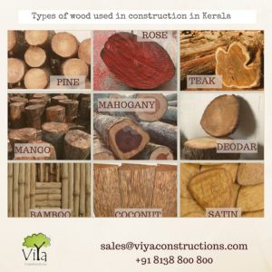 Types of wood used in construction in Kerala